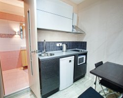 2-х местные номера-апартаменты СТУДИО со всеми удобствами и мини-кухней. Без вида.