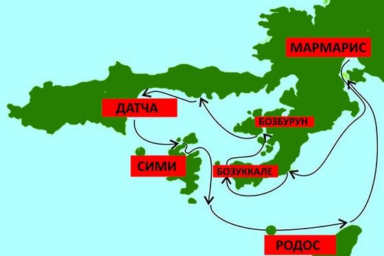 Карта круиза Морское приключение на Гулете. Архипелаги Турции и Греции.